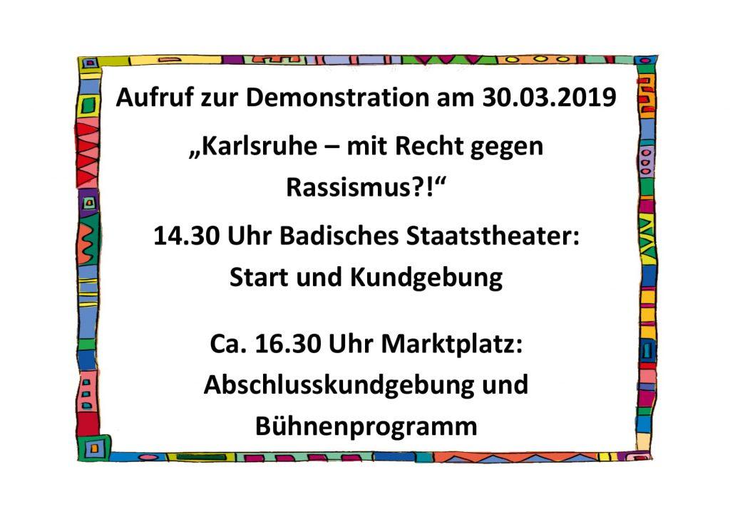 Aufruf zur Demo am 30.3.2019 gegen Rassismus