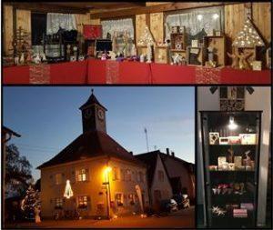 Zu sehen ist eine Collage aus Bildern mit einem goßen Foto von einer Kirche in in der Abenddämmerung und zwei Bildern mit Produkten aus dem Arbeitsprojekt.
