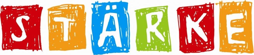 Rote, orangene, blaue, grüne und rote Quadrate enthalten jeweils einen Buchstaben und ergeben zusammen das Wort STÄRKE.