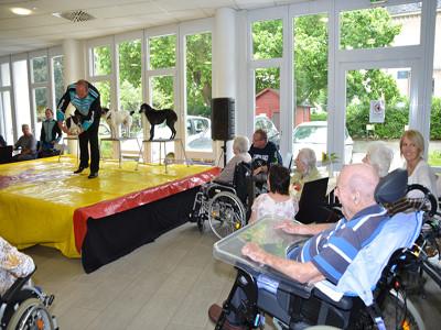 Ein Mann im Rollstuhl sieht auf einer Bühne einem Zirkusartisten zu.