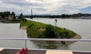 Blick auf die Rheinbrücke.