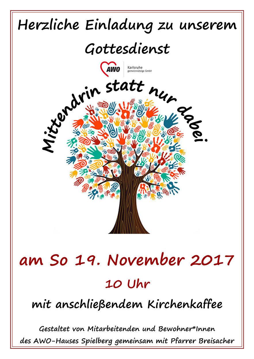 Plakat Einladung zum Inklusionsgottesdienst mit einem Baum mit bunten Händen als Blätter.
