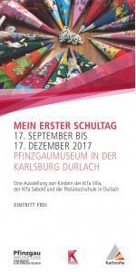 Flyer zu der Ausstellung Mein erster Schultag mit Schultütenbild.