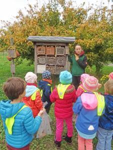 Kinder stehen im Wald vor einem Insektenhotel.