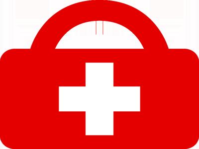 Rotes Kreuz im Koffer.
