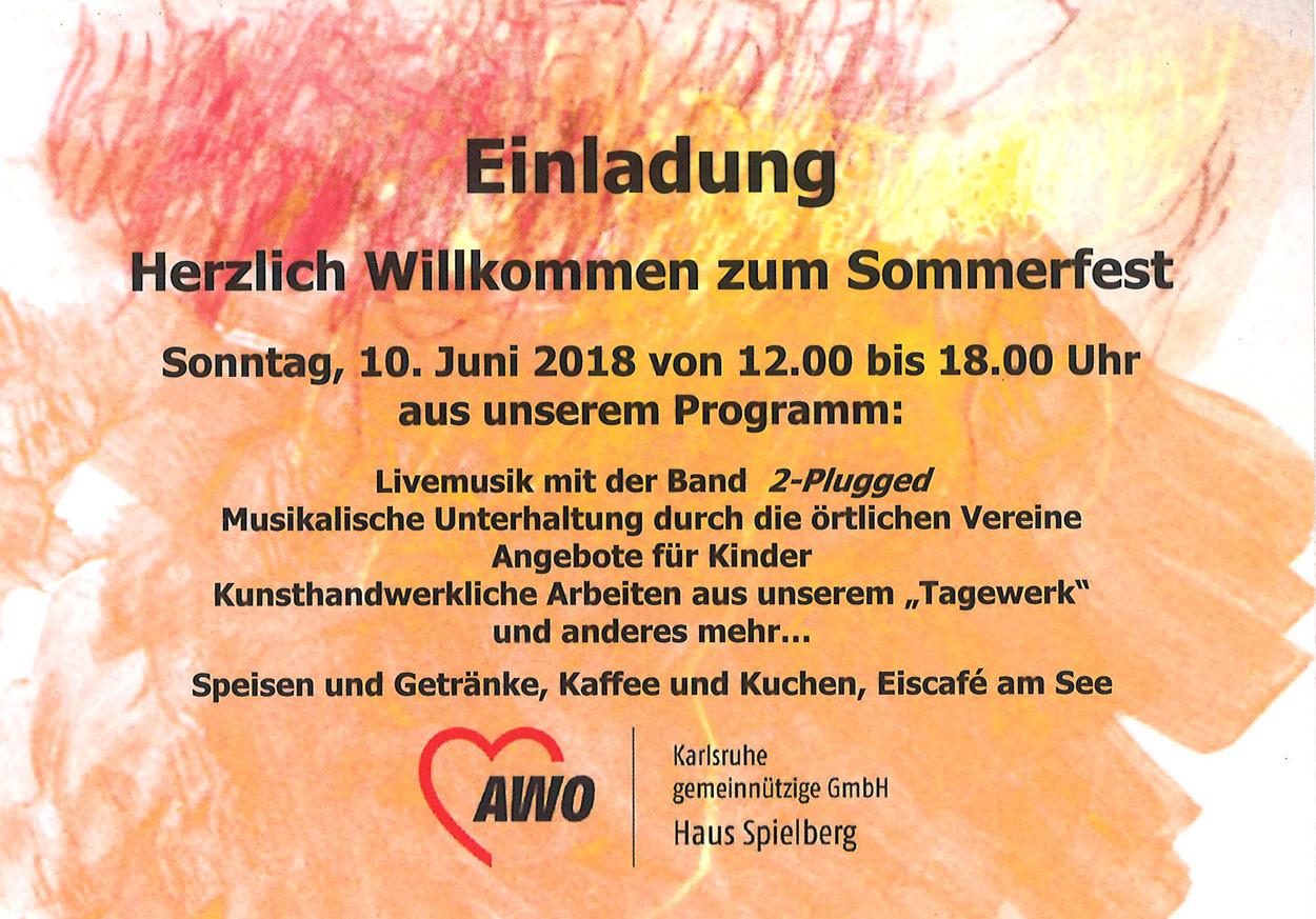 Postkarte mit Einladungstext zum Sommerfest vom AWO Haus Spielberg.