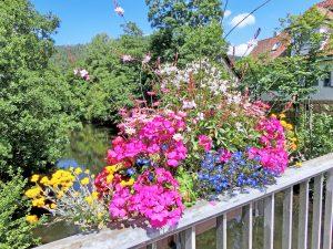 Ein Geländer mit Blumen.