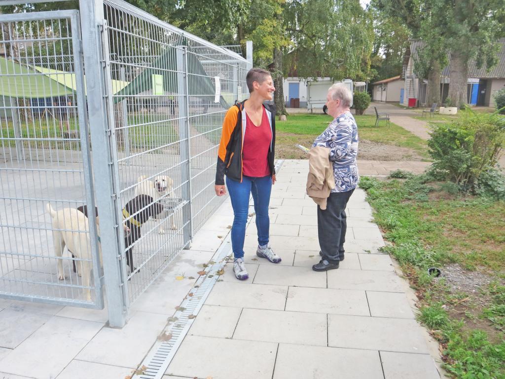 Zwei Frauen stehen vor einem Zwinger mit Hunden und unterhalten sich.
