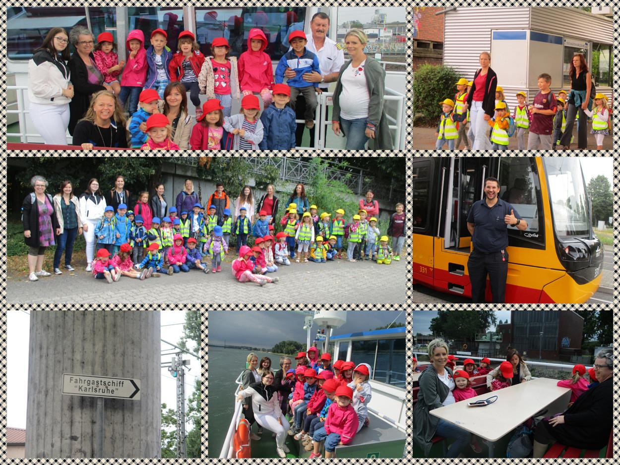 Collage mit Bildern von einem Kita-Ausflug zur MS Karlsruhe.