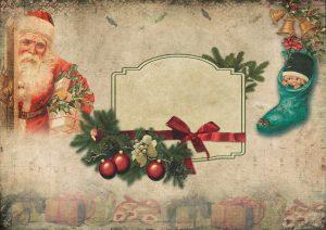 Weihnachtsmann und Weihnachtsschmuck auf Papier gemalt.