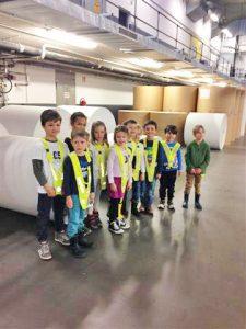 Kinder der Kita les petits amis besichtigen die Druckerei in der die Zeitung BNN hergestellt wird.