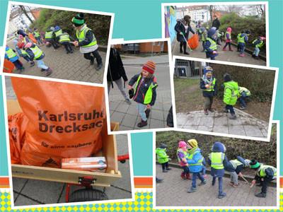 Kinder sammel Müll bei den Dreck-weg-Wochen 2019 in Karlsruhe.