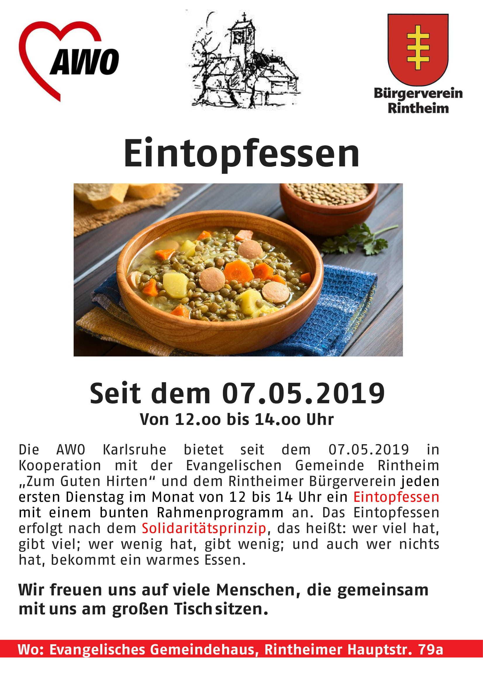 Plakat mit Werbung für das Eintopfessen in Rintheim.