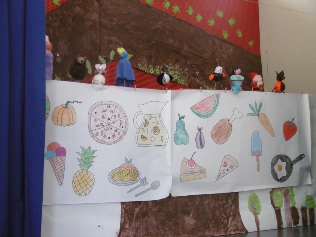 selbstgebastelte Stabfiguren auf einer selbstgebastelten Kulisse auf der diverse Lebensmittel abgebidlet sind
