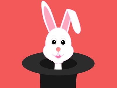 Ein weißer Hase streckt seinen Kopf aus einem schwarzen Zylinder.