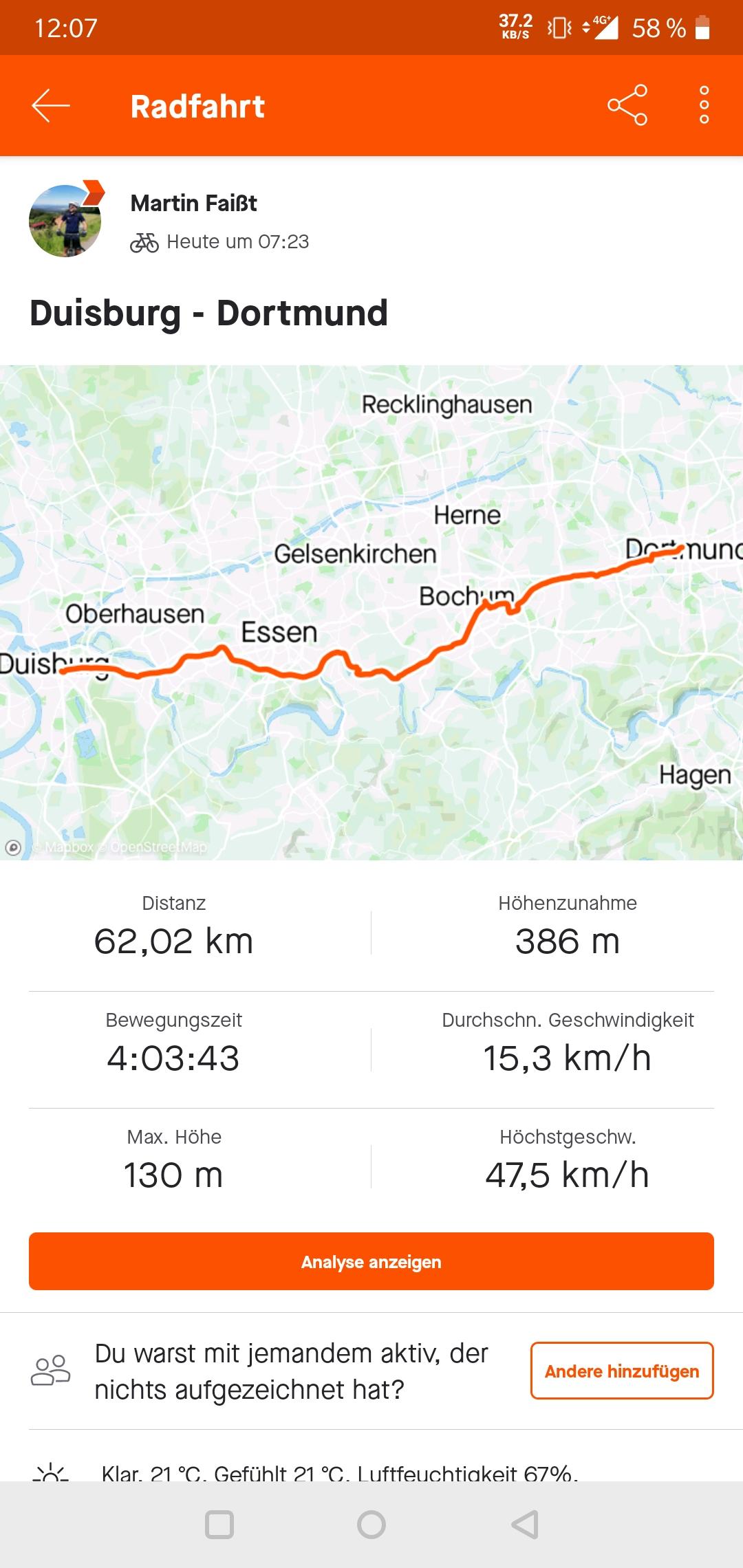 Handy-Screenshot von der Strecke Dusiburg-Dortmund.
