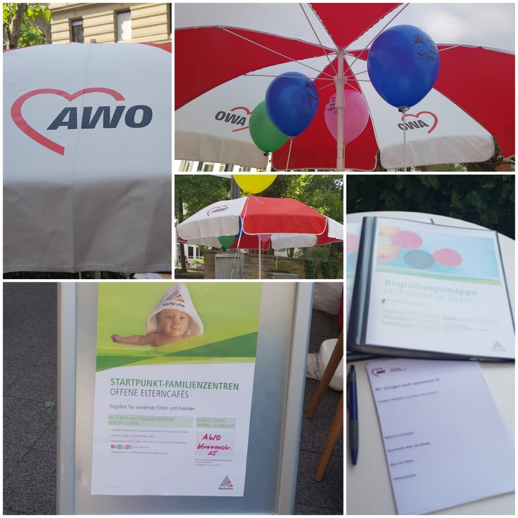 Bilder vom AWO Logo auf verschiedenen Medien.