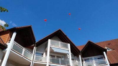 Blauer Himmel mit roten Herz-Luftballons