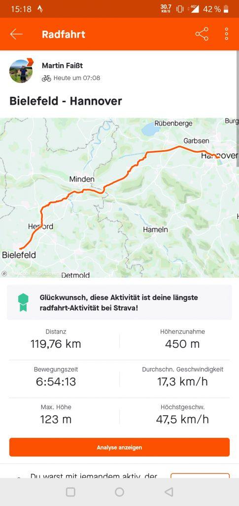 Handscreenshot Fahradtour von Bielefeld nach Hannover