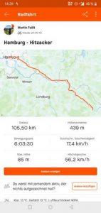Google Maps Ausschnitt: Mit dem Fahrrad von Hamburg nach Hitzacker.