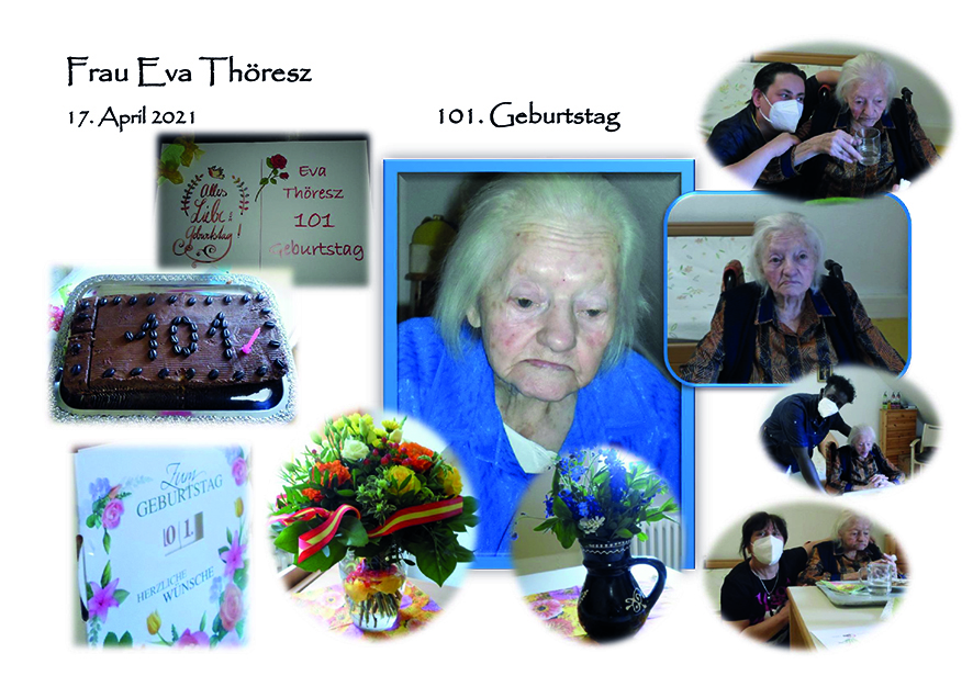 Collage Eva Thoeresz 101 Geburtstag AWO Karlsruhe